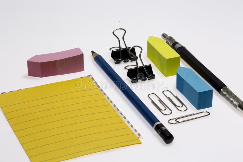 办公室和学校文具 免版税库存照片
