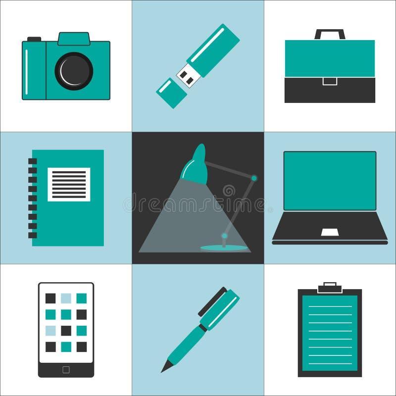 办公室和组织象 向量例证