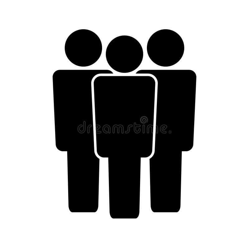 办公室团队工作黑白商标 向量例证