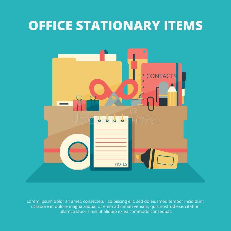 办公室固定式收藏 企业小配件经理教育供应文件夹法院记录笔铅笔订书机传染媒介 皇族释放例证