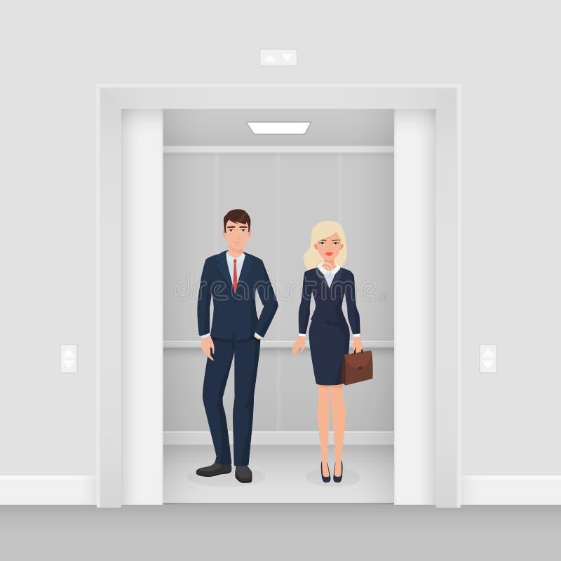 办公室在一起聚集在有开门传染媒介的现代电梯的正装衣服的商人夫妇 库存例证