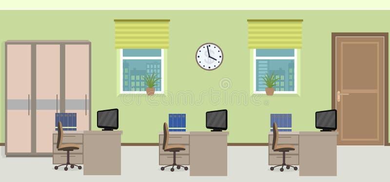 办公室室内部包括与家具的三个工作区 皇族释放例证