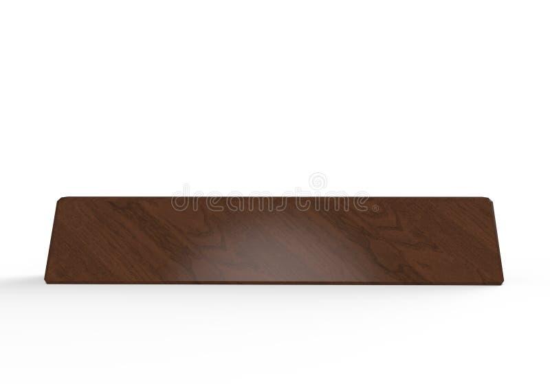 办公室家内部的空白的书桌名字板极木块 3d例证回报 向量例证