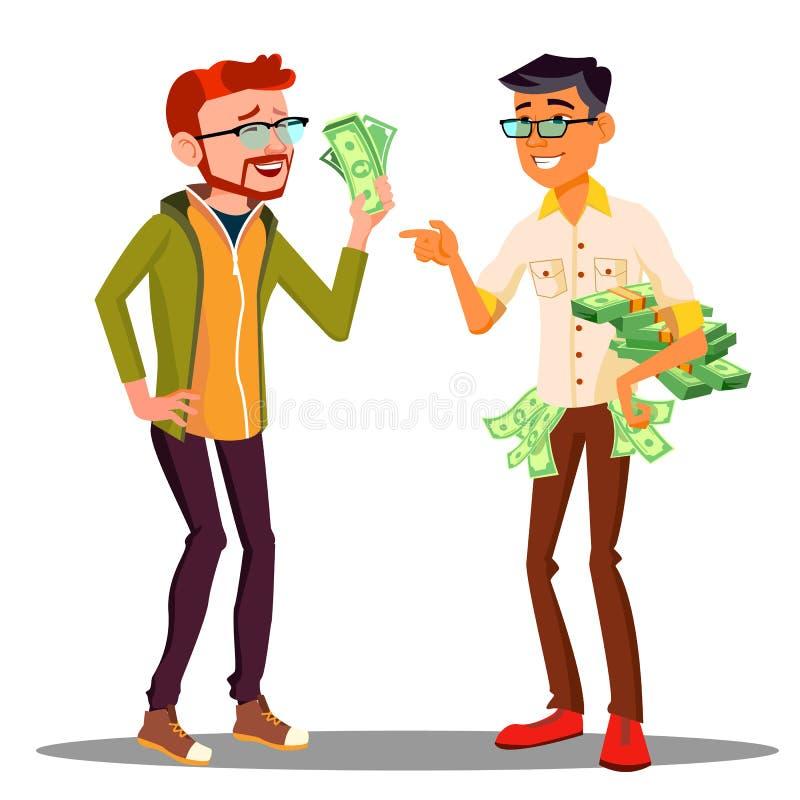 办公室工作人员,有在手中票据的一名雇员不同的薪金,别的与堆金钱传染媒介 查出 向量例证
