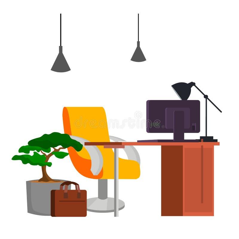 办公室工作场所传染媒介 办公桌,个人计算机 现代开发商演播室内部 抽象背景计算机庄稼例证可能行星possiblities类似于多种 向量例证