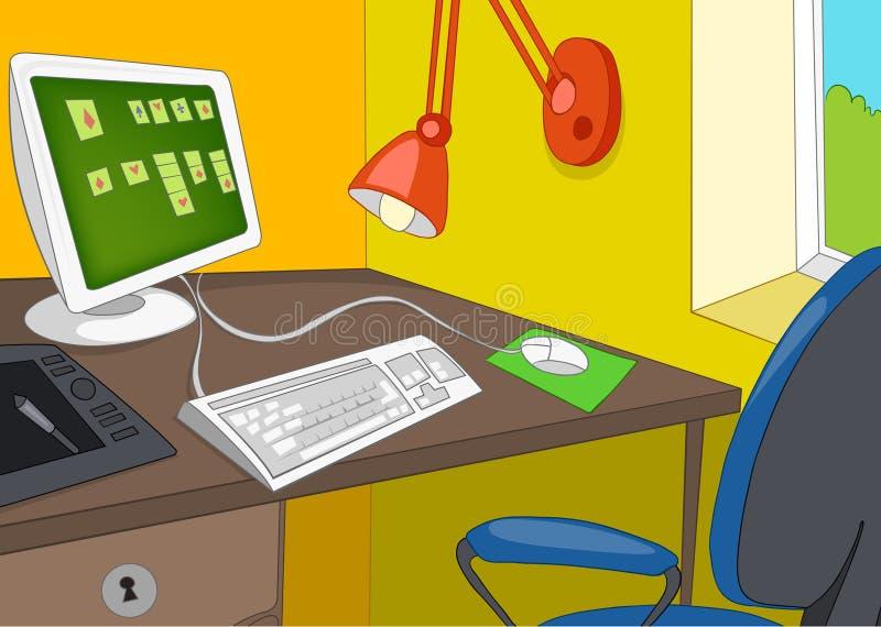 办公室工作场所动画片背景  库存例证