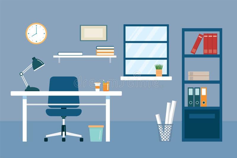 办公室工作场所和设备平的设计 向量例证