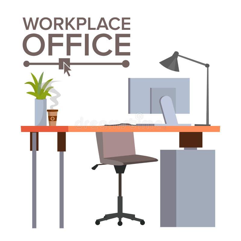 办公室工作场所概念传染媒介 会计科目企业概念服务台办公室 现代开发商演播室内部 经典工作区 书桌,计算机 向量例证