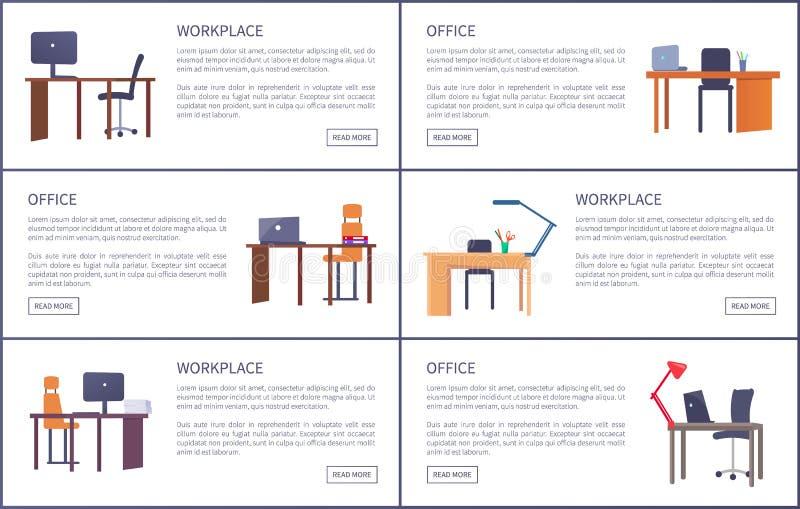 办公室工作场所汇集海报 空的表 向量例证