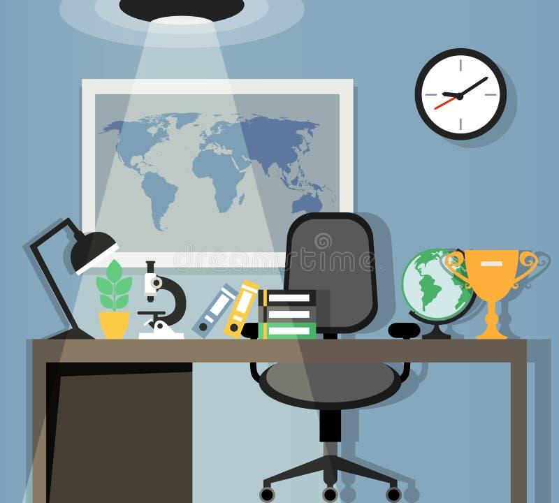办公室工作场所设计 向量例证