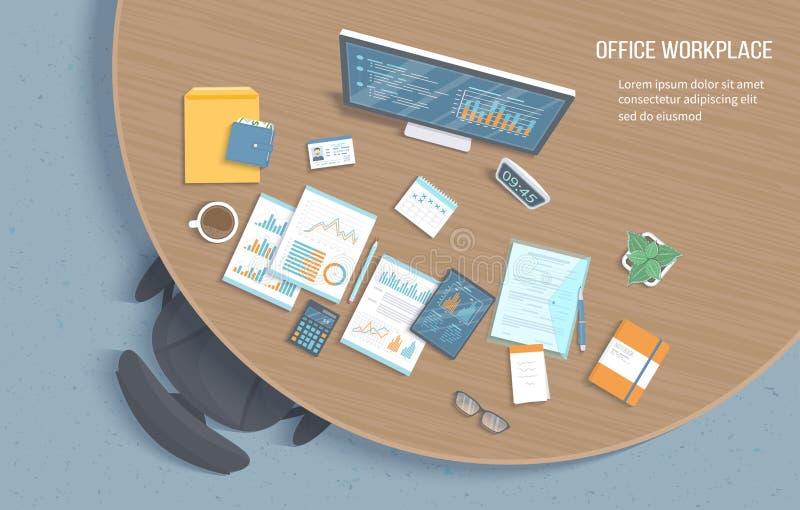 办公室工作场所顶视图有木圆桌的,椅子,办公用品,文件,笔记薄,文件夹,片剂 图,图表 向量例证