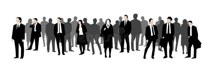 办公室工作者、商人和妇女人群的例证黑,白色和亮度色标的 库存例证