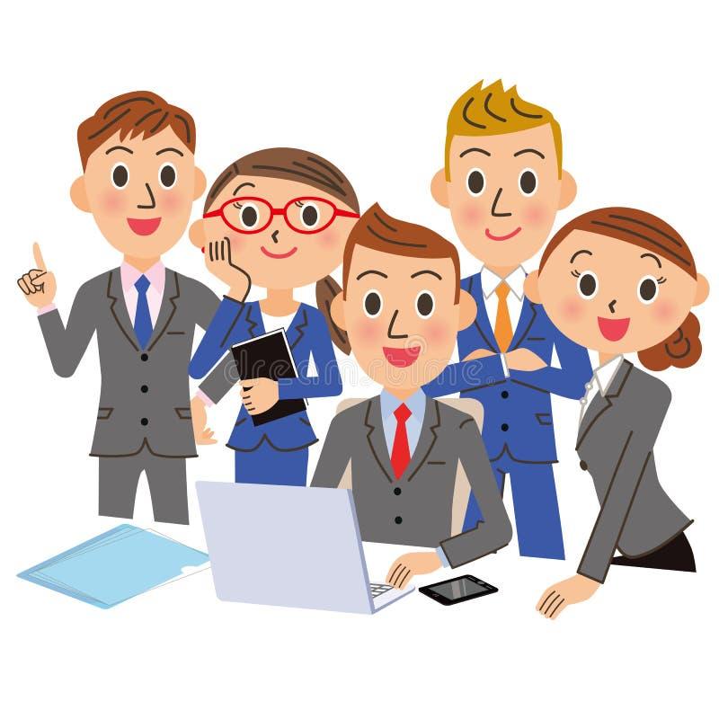 办公室工作者会集并且观看个人计算机 库存例证
