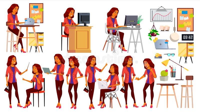 办公室工作者传染媒介 妇女 企业人 Face Emotions,各种各样的姿态夫人 被隔绝的平的漫画人物 向量例证