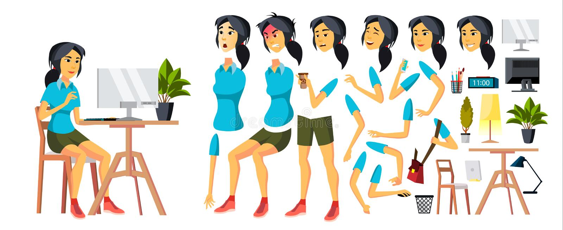 办公室工作者传染媒介 妇女 现代雇员,民工 韩国,越南,日本企业工作者 面对情感 向量例证
