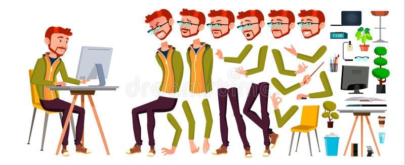 办公室工作者传染媒介 红色头,姜 动画创作集合 成人企业男性 成功的公司职员,干事 向量例证