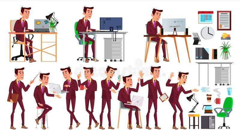 办公室工作者传染媒介 面孔情感,各种各样的姿态 商人人 现代内阁雇员,工作员,民工 向量例证