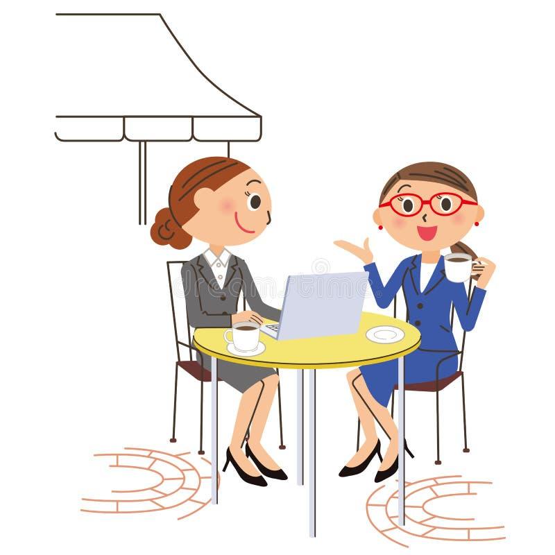 办公室工作者咖啡馆个人计算机 向量例证