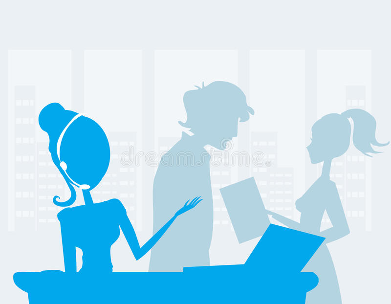 办公室工作者在工作 向量例证