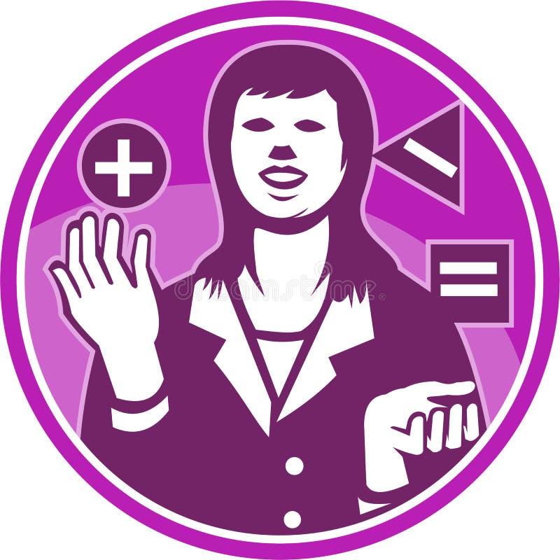 办公室工作者女实业家玩杂耍的木刻 向量例证