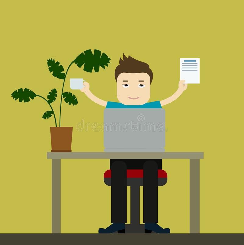办公室工作者或自由职业者商人 男孩动画片不满意的例证少许向量 皇族释放例证
