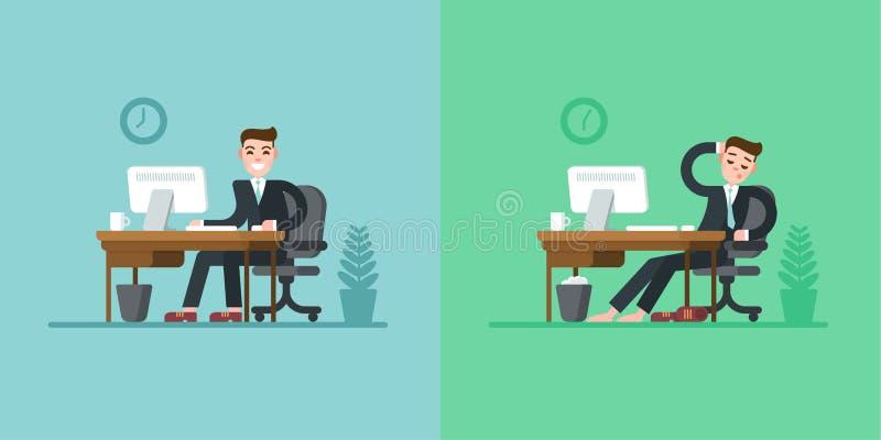 办公室工作者每日惯例 坐在书桌和研究计算机的衣服的商人 疲倦在结束时 向量例证