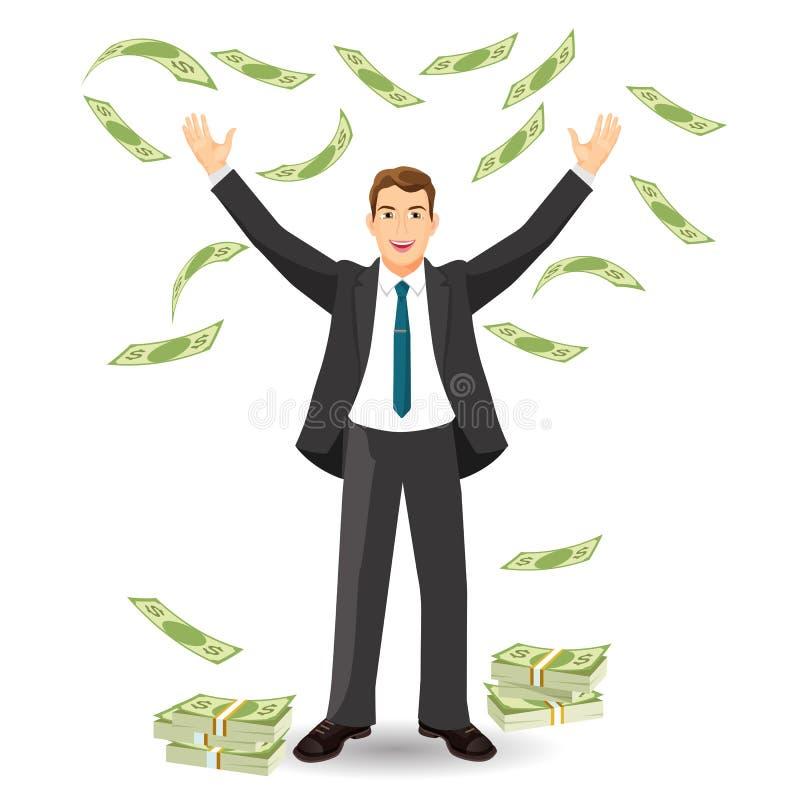办公室工作者的财务收益,雇员概念的付款 向量例证