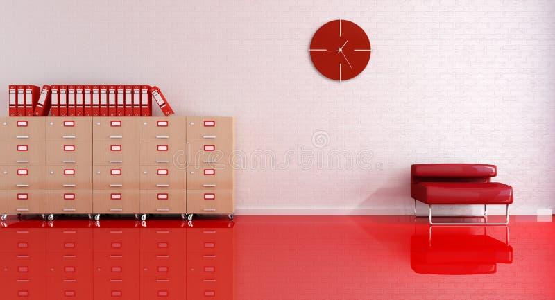 办公室接收红色 库存例证