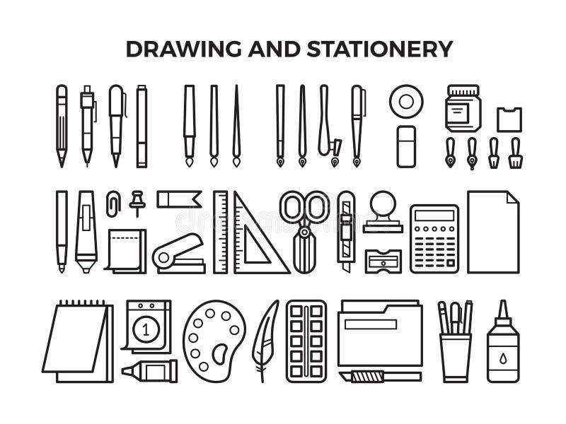 办公室文具和绘图工具线象 向量例证