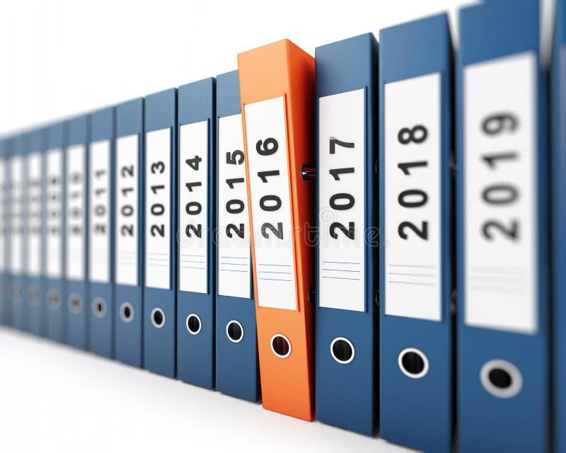 办公室文件夹新年2016年 库存例证