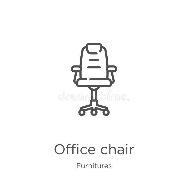 办公室椅子从家具汇集的象传染媒介 稀薄的线办公室椅子概述象传染媒介例证 概述,稀薄的线 库存例证