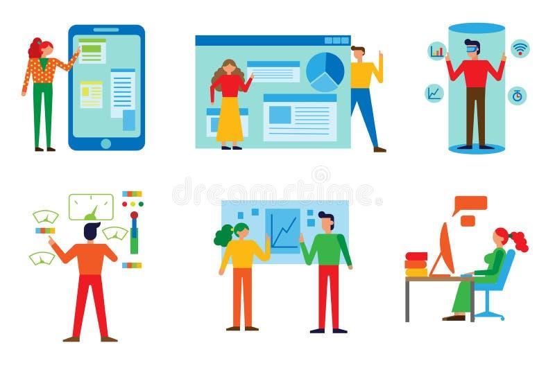 办公室概念商人传染媒介例证 库存例证