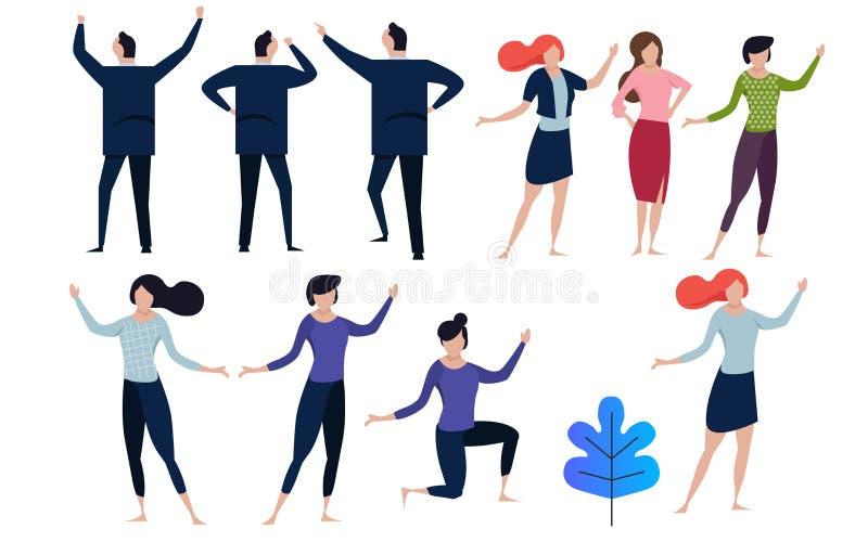 办公室概念商人导航例证平的设计 在许多的汇集姿势男人和妇女 向量例证