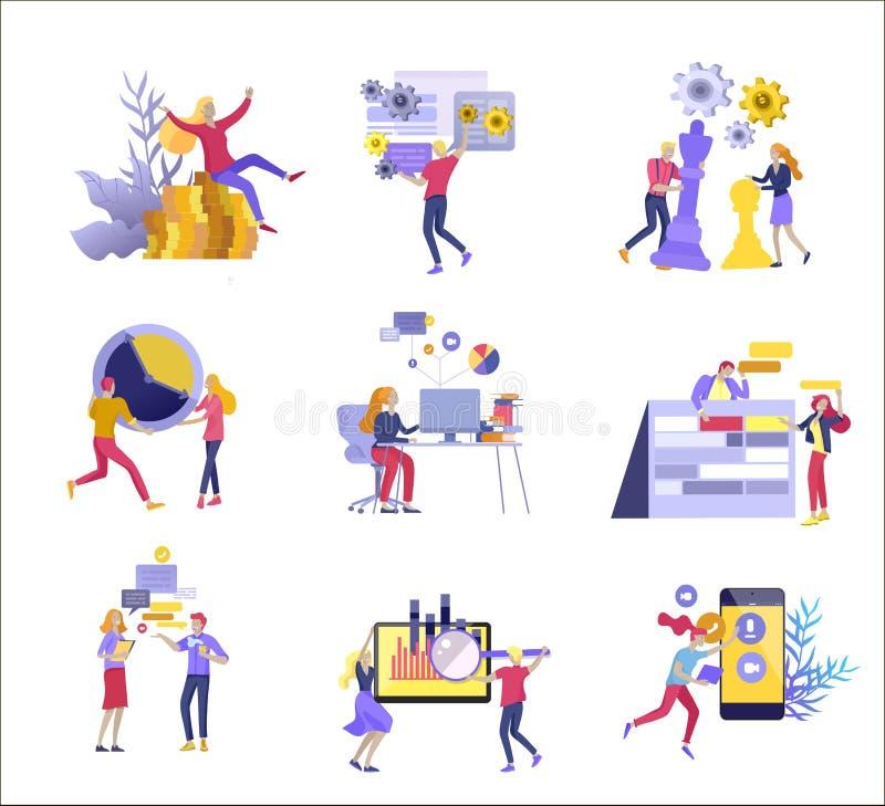 办公室概念项目管理、事务,工作流和咨询的商人 现代传染媒介例证平的概念 库存例证