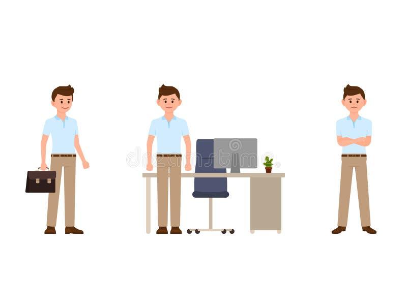 办公室漫画人物的年轻商人 干事不同的姿势的传染媒介例证 库存例证