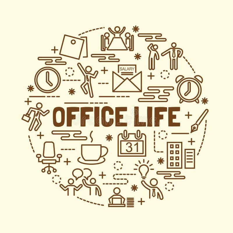 办公室生活最小的稀薄的线被设置的象 皇族释放例证