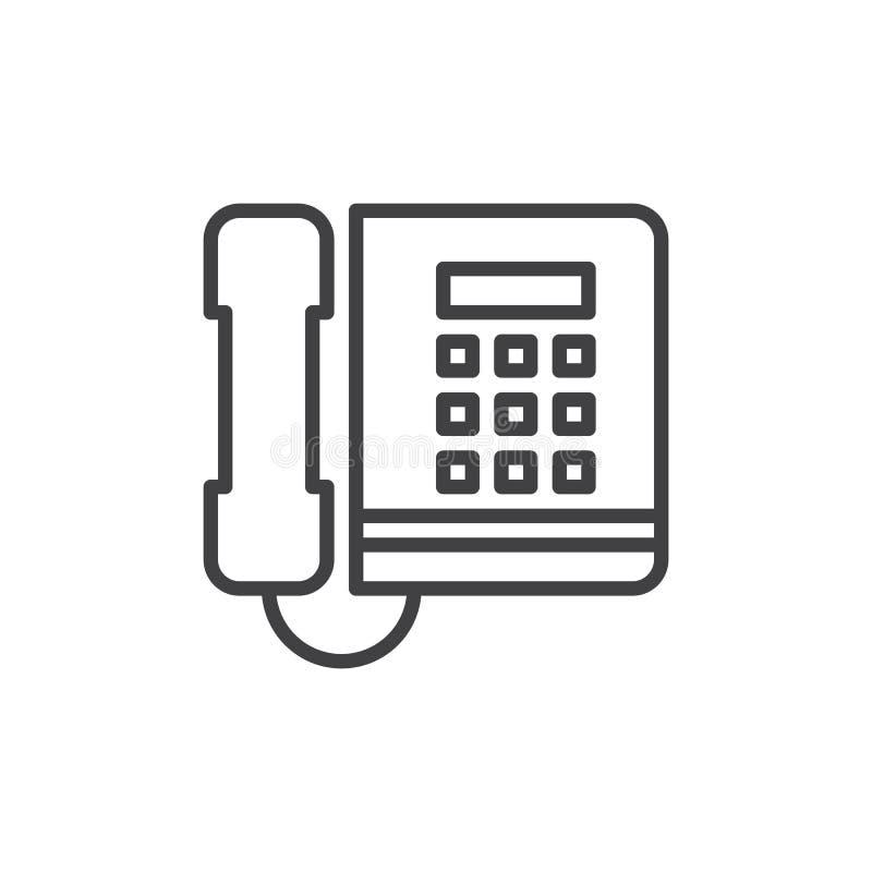 办公室电话线象,概述传染媒介标志,在白色隔绝的线性样式图表 皇族释放例证