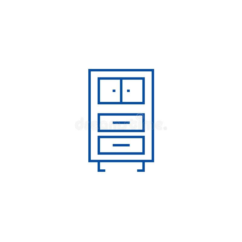办公室碗柜排行象概念 办公室碗柜平的传染媒介标志,标志,概述例证 向量例证