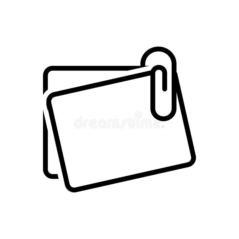 办公室纸夹的黑线象与笔记,固定式和别针 皇族释放例证