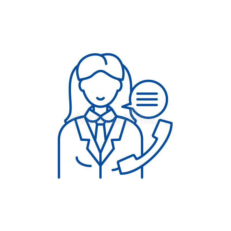 办公室经理线象概念 办公室经理平的传染媒介标志,标志,概述例证 库存例证