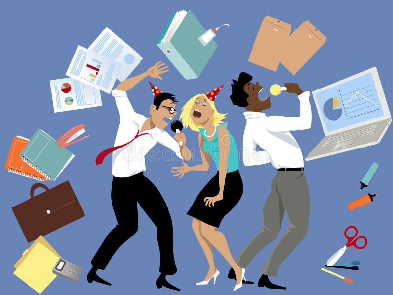 办公室聚会卡拉OK演唱 库存例证