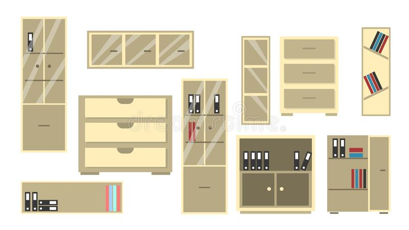 办公室衣物柜集合 库存例证