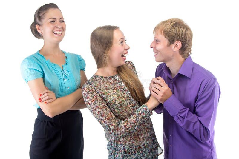 办公室言情和微笑的上司 免版税库存照片