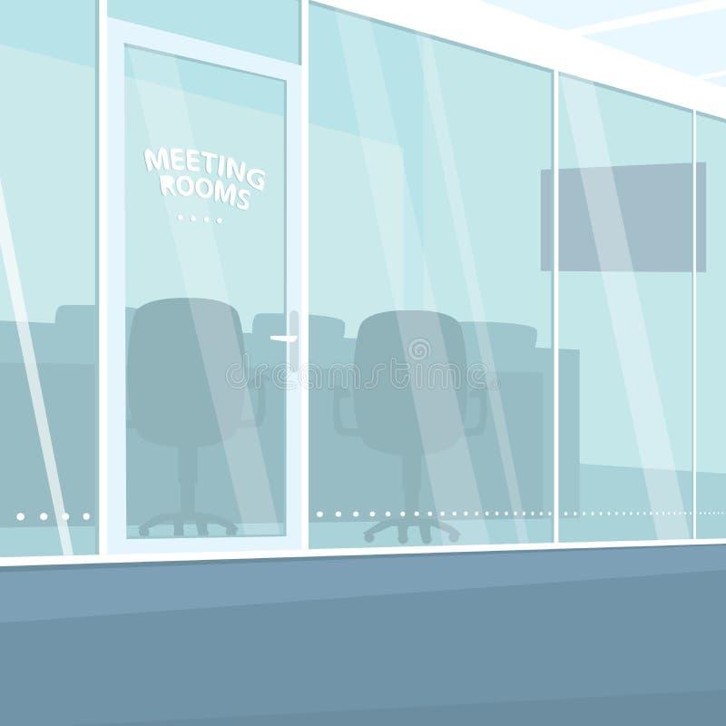 办公室走廊内部有会议室的 皇族释放例证