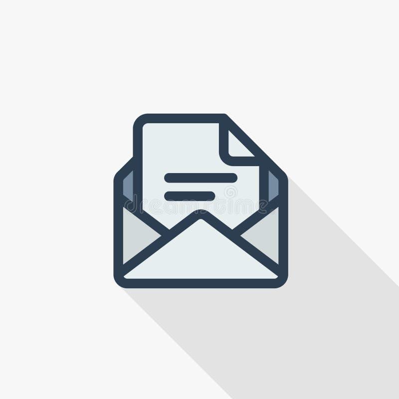 办公室邮件,开放信封,给稀薄的线平的象发电子邮件 线性传染媒介标志五颜六色的长的阴影设计 向量例证