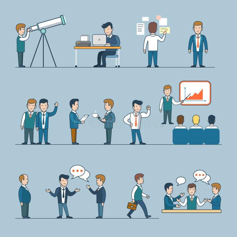 办公室队生活平的线艺术样式企业peop 向量例证