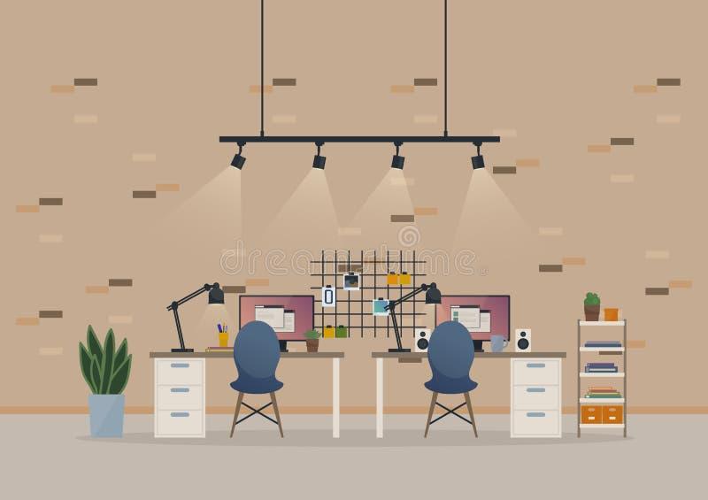 办公室露天场所内阁或地下室有家具的工作室喜欢椅子,并且桌,监测与报告窗口 皇族释放例证