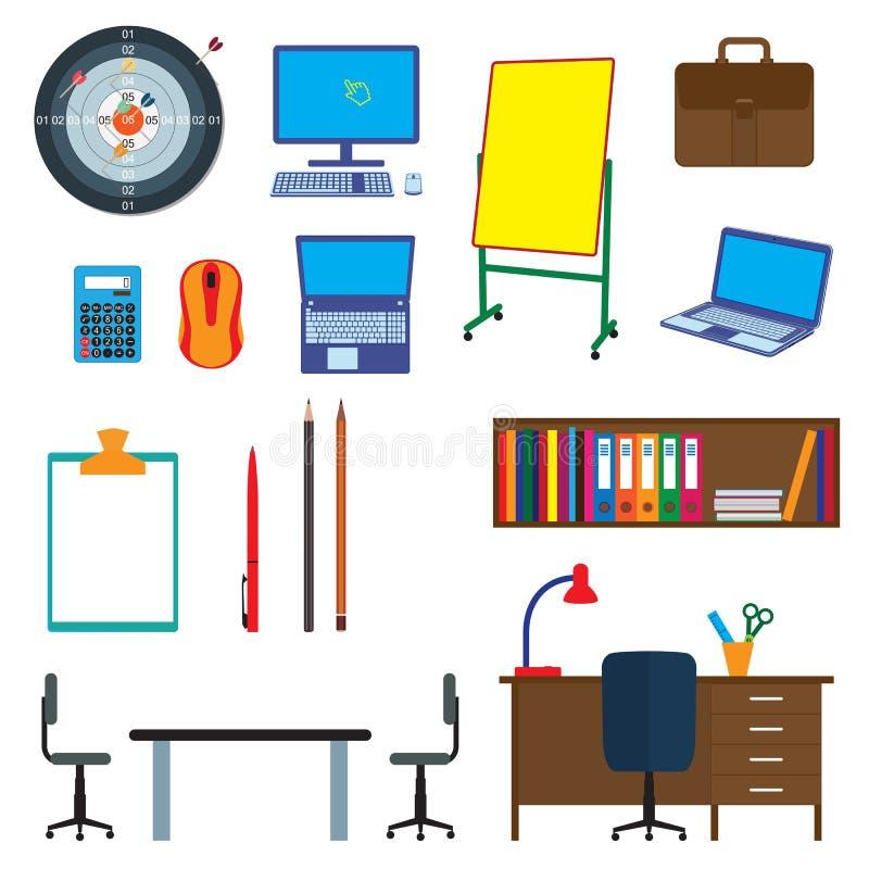 办公室项目 反对办公室内部 向量例证