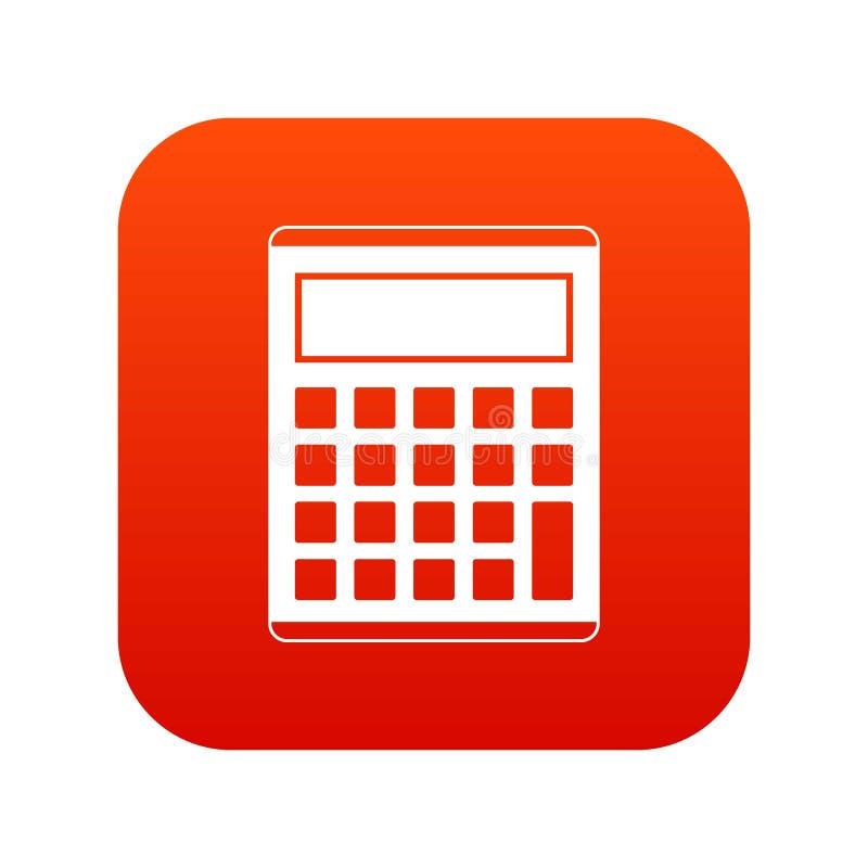 办公室,学校电子计算器象数字式红色 向量例证