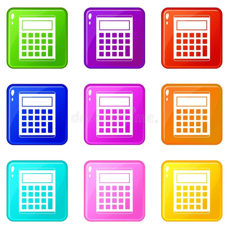 办公室,学校电子计算器象9集合 向量例证